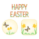 Buttons Happy easter spring flowers narcissus with butterfly  vector Royalty Free Stock Photo