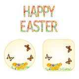 Buttons Happy easter  wicker basket with Easter eggs with butterflies   vector Stock Photo