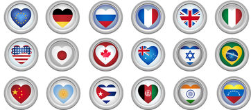 Buttons Heart Shaped Flags Stock Photos