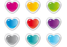 Buttons hearts. Set of colored buttons in the shape of a heart for sites Royalty Free Stock Image