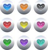 buttons hjärta royaltyfri illustrationer