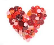 buttons hjärta som sewwing Arkivbilder