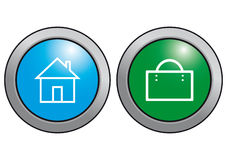 Buttons. House and bag. Stock Photos
