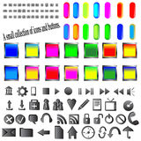 Buttons and icons. A small collection of colored icons and buttons for different needs Royalty Free Stock Images