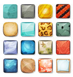 Buttons And Icons Set For Mobile App And Game Ui. Illustration of a set of cartoon funny icons and buttons elements, in various texture, wood, gold, salmon, furs Royalty Free Stock Image