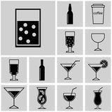 Buttons. Icons set vector black silhouettes simple drink Royalty Free Stock Photo