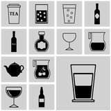 Buttons. Icons set vector black simple drink Stock Photography