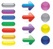 Buttons. Illustration of glossy buttons and arrows Royalty Free Stock Image