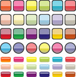 Buttons illustrations. Glass/plastic style buttons in different colours and shapes Stock Photo