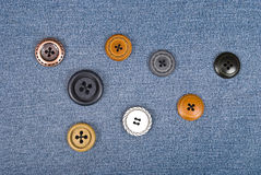 Buttons on jeans Stock Images