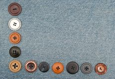 Buttons on jeans Royalty Free Stock Photos
