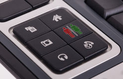 Buttons on a keyboard - Man and woman Royalty Free Stock Photography