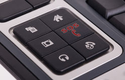 Buttons on a keyboard - SOS. Buttons on a keyboard, selective focus on the middle right button - SOS Stock Photography