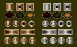 buttons klassisk metall Arkivfoton