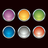 buttons krom glansig Arkivfoto