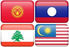Buttons: Kyrgyzstan, Laos, Lebanon, Malaysia Royalty Free Stock Image