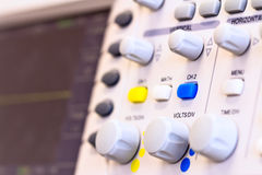 Buttons of laboratory digital oscilloscope Stock Photo