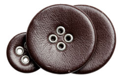 Buttons leather on a white background Stock Photo