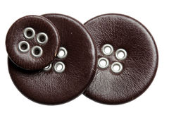 Buttons leather on a white background Royalty Free Stock Photo