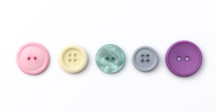 Buttons in a Line. Five buttons in a line on a white background stock image