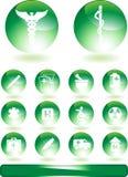 buttons läkarundersökning rund Fotografering för Bildbyråer
