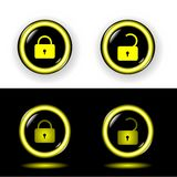 Buttons lock with gold a rim shone vector Stock Images