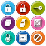Buttons with locks Stock Images