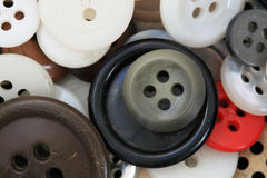Buttons Macro. Macro image of many different old used buttons Royalty Free Stock Photos