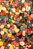 buttons made with palm seeds dried and cut for sales in the ethn Stock Image