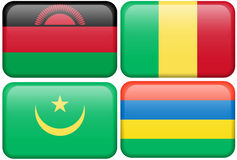 Buttons: Malawi, Mali, Mauritania, Mauritius Royalty Free Stock Photography