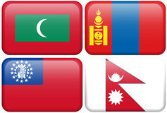 Buttons: Maldives, Mongolia, Myanmar, Nepal Royalty Free Stock Photos