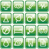 Buttons with medical symbols Stock Image