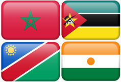 Buttons: Morocco, Mozambique, Namibia, Nigerien. Moroccan, Mozambican, Namibian, and Nigerien flag rectangular button.  Part of set of country flags all in 2:3 Royalty Free Stock Images