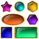 Buttons with multicolored gems, set Stock Photos