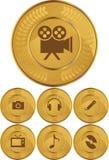 buttons multimedior för myntguld vektor illustrationer