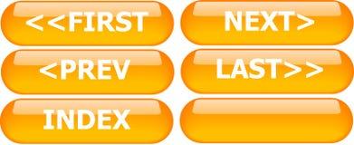 buttons navigering orange Arkivbild