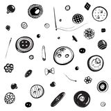 Buttons and Needles Set Ink Drawing Stock Photos