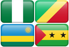 Buttons: Nigeria, Rep. Congo, Rwanda, Sao Tome. Nigerian, Congolese, Rwandan, and Sao Tome and Principe flag rectangular button.  Part of set of country flags Stock Photography