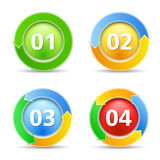 Buttons with numbers. Buttons with circular arrows and numbers Royalty Free Stock Photos