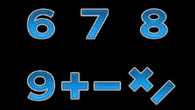Buttons, Numbers and Signs Seamless Loop. Fullhd 1920x1080 Progressive Seamlessly Looping Video, Numbers and Mathematical Signs, Stylized Glowing Glass Blue stock video