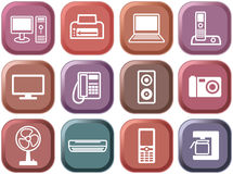 Buttons of office equipment. Multi-coloured buttons. Set of icons of office equipment Royalty Free Stock Photography