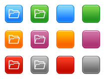 Buttons with open folder icon Stock Images