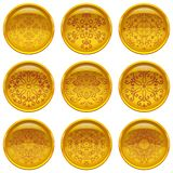 Buttons with patterns, set Royalty Free Stock Photography