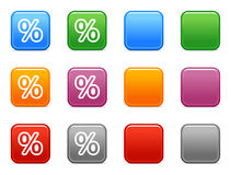Buttons with percent icon. Vector web icons, color square buttons series Royalty Free Stock Photos