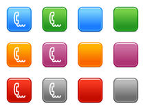 Buttons with phone icon. Vector web icons, color square buttons series Stock Images
