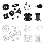 Buttons, pins, coil and thread.Sewing or tailoring tools set collection icons in black,outline style vector symbol stock. Illustration Royalty Free Stock Image
