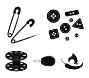 Buttons, pins, coil and thread.Sewing or tailoring tools set collection icons in black style vector symbol stock. Illustration Stock Photo