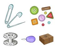 Buttons, pins, coil and thread.Sewing or tailoring tools set collection icons in cartoon style vector symbol stock. Illustration Royalty Free Stock Photos
