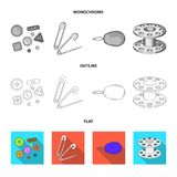 Buttons, pins, coil and thread.Sewing or tailoring tools set collection icons in flat,outline,monochrome style vector. Symbol stock illustration Royalty Free Stock Image