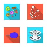 Buttons, pins, coil and thread.Sewing or tailoring tools set collection icons in flat style vector symbol stock Stock Photo